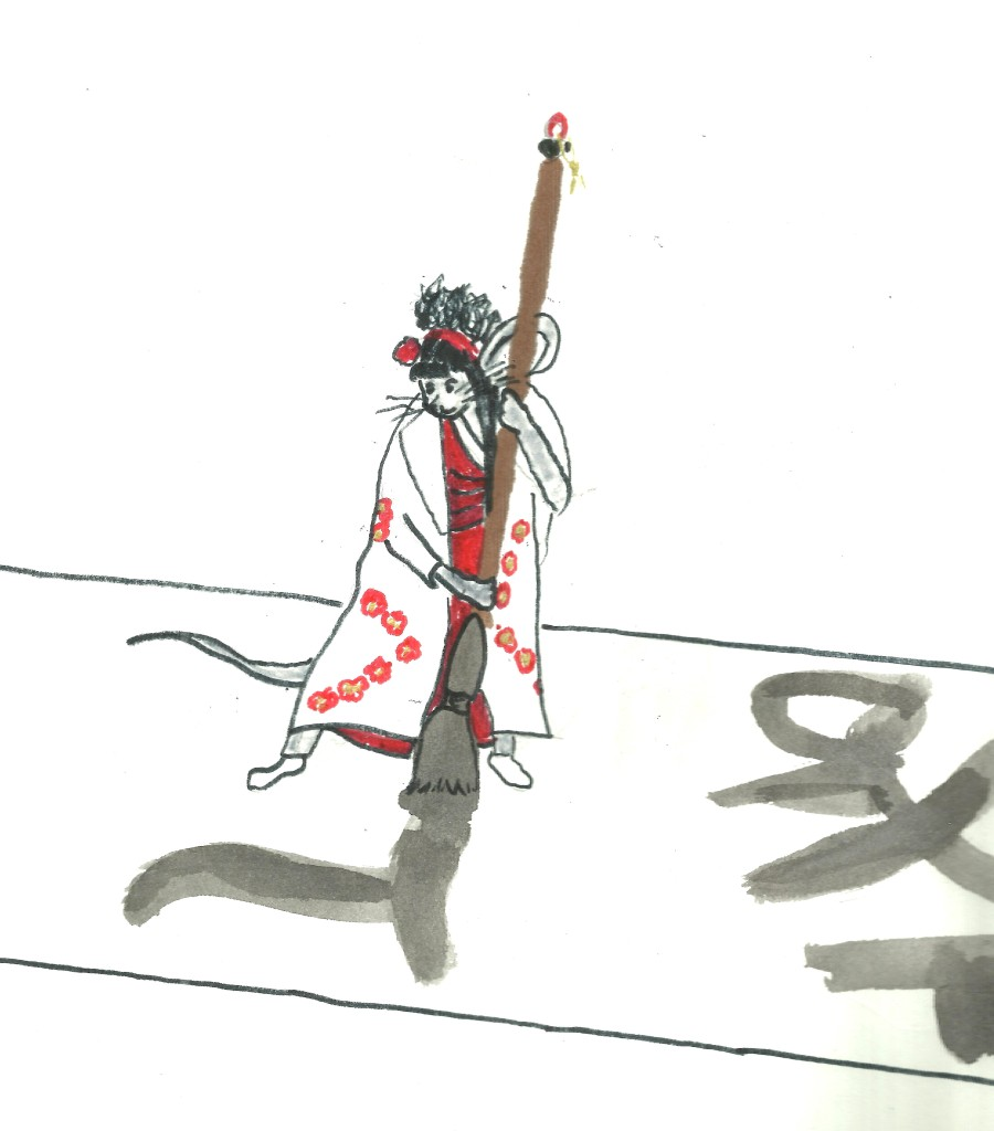 A mouse in a kimono writes on a paper using a brush bigger than she.